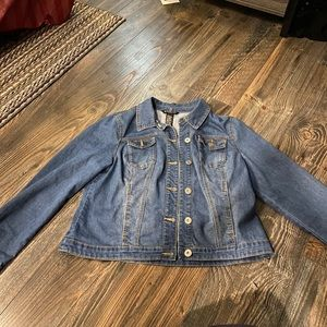 Baccini Blue Jean Jacket with Red Plaid Patches L